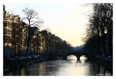 winter afternoon sunshine over Amsterdam's canal, Holland