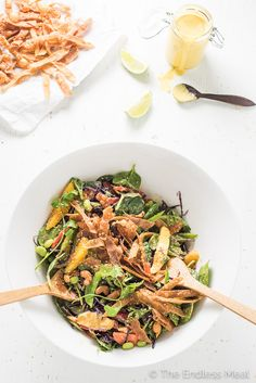 Thai Chopped Salad with Sweet Sesame Mango Dressing and Crispy Wontons   theendlessmeal.com