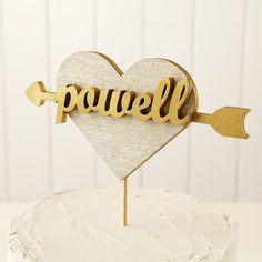 Custom Heart Wedding Cake Topper in Gold by betteroffwed on Etsy, $69.00