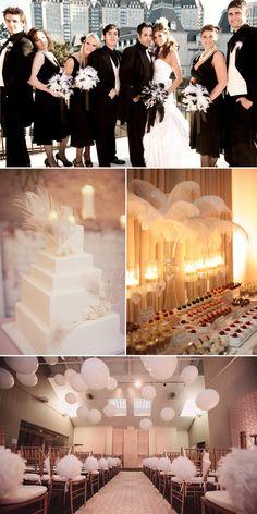 20er Jahre Hochzeit mit Federn dekoriert schwarz Abendkleider Brautkleider Hochzeit Tischdeko romantisch Großartige Vintage Hochzeit mit dekorierten Federn, Quasten und Spitzen
