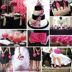 gray+and+fuschia+gowns   fuschia and black bridesmaid dresses   fuschia pink black and white ...