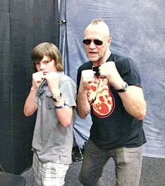 chandler riggs walking dead photos | Chandler Riggs and Michael Rooker. | The Walking Dead