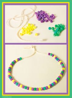 For Mardi Gras or anytime. make necklaces! Sorting and making patterns are 2 e. - For Mardi Gras or anytime… make necklaces! Sorting and making patterns are 2 early math skills fo - Mardi Gras Wreath, Mardi Gras Beads, Mardi Gras Centerpieces, Mardi Gras Decorations, Mardi Gras Outfits, Mardi Gras Costumes, Mardi Gras Food, Mardi Gras Party, Madrid