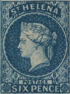 Six Pence, blue Colonial, Postage Stamp Design, Crown Colony, St Helena, Vintage Stamps, Anglo Saxon, King George, Queen Victoria, Stamp Collecting