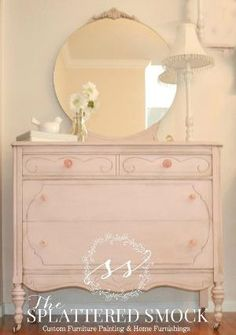 """SOLD: Pink Dresser, Shabby Chic, Hand Painted with Annie Sloan's """"Antoinette"""" Chalk Paint on Etsy, $420.00 by cecelia"""