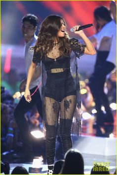 Selena Gomez Performs 'Kill Em With Kindness' at WE Day: Photo Selena Gomez looks gorgeous in a sheer black ensemble while performing on stage at 2016 WE Day California at The Forum on Thursday (April in Inglewood. Selena Gomez Fashion, Selena Gomez Outfits, Selena Gomez Tour, Estilo Selena Gomez, Selena Gomez Style, Selena Gomez Adidas, Looks Adidas, Marie Gomez, Stage Outfits