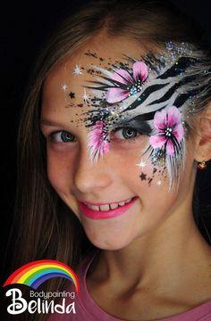 Artist: Belinda Wurmitzer Flowers snd black and white zebra stripes Face Painting Flowers, Eye Face Painting, Adult Face Painting, Face Paint Makeup, Face Painting Designs, Face Art, Body Painting, Eye Makeup, Zebra Face Paint