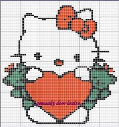 Hello Kitty Heart Cross Stitch