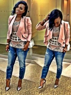 This is a cool outfit!! Hair, cut, color and design of the blazer, the jean, and love that metallic pump!-SN