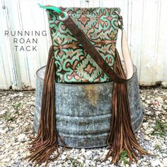 Turquoise Boot Top Bucket Bag with Ridiculously Long Fringe by Running Roan Tack