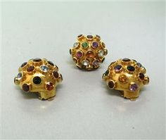 Estate Sputnik 18k Gold Multi Colored Gemstone Ring Earrings Set