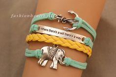 anchor bracelet elephant bracelet  by fashionhealthylife, $6.99
