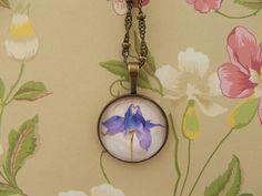 Iris Flower Cabochon Pendant necklace antique by Washer Necklace, Pendant Necklace, Iris Flowers, Wedding Ideas, Antiques, Unique Jewelry, Handmade Gifts, Etsy, Antiquities