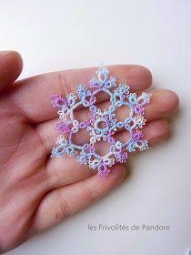 les Frivolités de Pandore, dentelle aux navettes.: Flocon Ice Flower