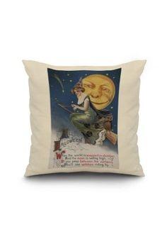 Halloween Greeting - Witch in Flight - Vintage Holiday Art (18x18 Spun Polyester Pillow, White Border), Multi
