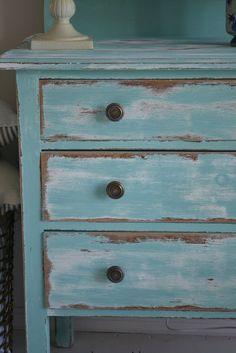 Paint Me White Turquoise Dresser