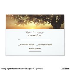 string lights tree rustic wedding RSVP card