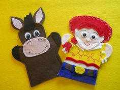 Jessie and Bullseye  Felt Hand puppets Toy Story. $9.99, via Etsy.
