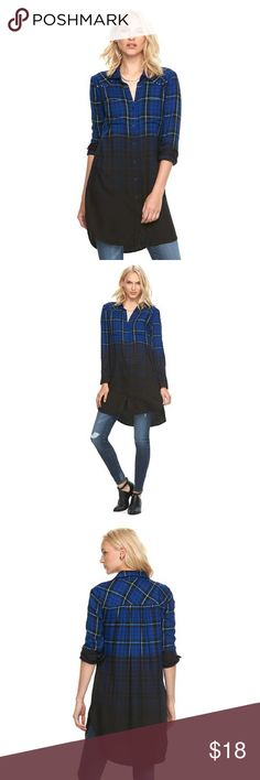 Women's Rock & Republic Plaid Dip-Dye Tunic PERFECT CONDITION Only worn once - less than 24 hours.  Women's Rock & Republic plaid flannel style tunic, featuring a cool dip-dyed hem. In black/blue. Rayon.  PRODUCT FEATURES Dip-dyed plaid pattern Studded details Vented shirttail hem 2-pocket Button front Long sleeves Rock & Republic Tops Tunics