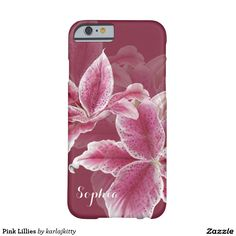 """Pink Lillies Barely There iPhone 6 Case  A ruby background color with painted stargazer lillies in shades of pink, red, and white.  Add your name to the text field or clear it out if wish.  You can also click on """"Customize It!"""" to adjust the font type, size, color, placement, etc.  Artwork and design by Karlajkitty."""