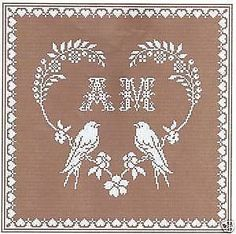 Grid cross stitch-heart doves-ref: 4003 Embroidery Hearts, Ribbon Embroidery, Cross Stitch Embroidery, Wedding Cross Stitch Patterns, Cross Stitch Designs, Crochet Placemats, Wedding Embroidery, Filet Crochet Charts, Wedding Pillows