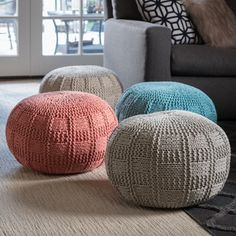 Christopher Knight Home Yuny Round Fabric Ottoman Pouf | Overstock.com Shopping - The Best Deals on Ottomans