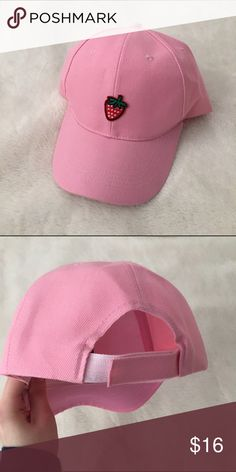 Fruit aesthetic dad cap baby pink strawberry Strawberry fruit aesthetic dad hat in baby pink 🍓 Patch is sewn on by hand and will never peel off like iron-on versions. Brand new! Super cute for all your pastel looks! There is only one of these so first come first serve😊 Lmk in the comments what other colors & patch designs you want to see for when I find more hats💕 #fruit #aesthetic #babypink #strawberry #dadhat #cap Pixel Babe Accessories Hats