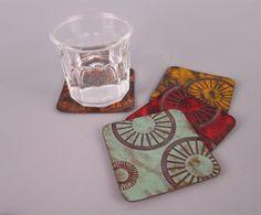 Copper enamel handmade coasters