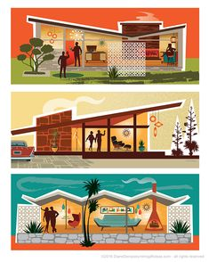 Mid Century Modern House Illustrations created for a series of posters and art prints. Created in vector based illustration. Mid Century Modern Decor, Mid Century Art, Mid Century House, Mid Century Style, Art And Illustration, Illustrations, Upcycled Furniture Before And After, House Drawing, Googie