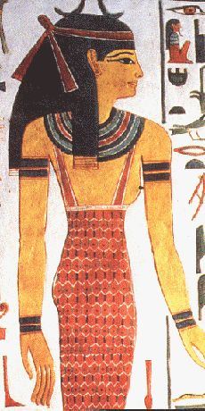 Egyptian Queen. Sheath Dress. Gorgerin (around her neck). Bracelets and armlets. Kohl around her eyes.