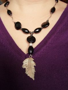 Onyx, hematite and silver