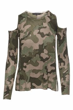 This Central Park West top emboide the east coast with its camo print and trending cold shoulder. Pais well with black distressed denim and booties. Camo Cold Shoulder by Central Park West. Clothing - Tops Nevada