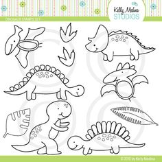 Dinosaur  Digital Stamps Elements Commercial by Kellymedinastudios, $5.00