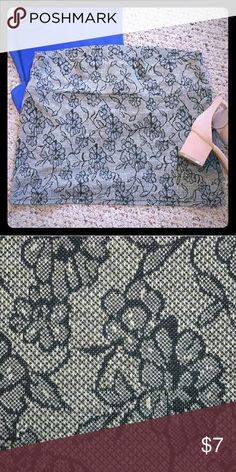 Lace Print Skirt Shorter in length.. goes to about mid thigh. Elegant lace/floral print black and gray skirt. Condition : great, barely worn. Size : medium. Brand : Lime. Lime Skirts Mini