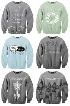 John Green novel inspired sweaters. Don't know that I would actually wear these, but still cool.