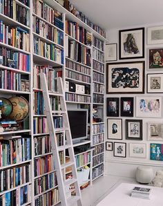 White shelves look like they were hand built (sagging a bit) but I like the look of wall to wall books!
