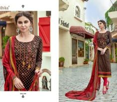 Buy Radhika presents Azara Elee Pure Glass Cotton Print With Self Embroidery Suit 1009 Embroidery Suits, Cover Up, Retail, Presents, Pure Products, Blouse, Lace, Cotton, Collection