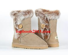 UGGs Wholesale Classic 5803 Sand Bailey Button Boots Fur Fox