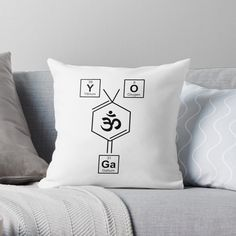 Periodic Elements, Namaste Yoga, Weird Holidays, Yoga Gifts, Meaningful Gifts, Designer Throw Pillows, Pillow Design, Spelling, Periodic Table