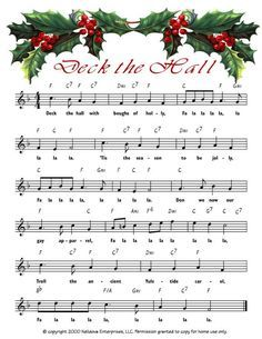 Deck the Hall link to printable Christmas sheet music Christmas Songs Lyrics, Christmas Sheet Music, Noel Christmas, Christmas Paper, Christmas Pictures, Christmas Projects, All Things Christmas, Vintage Christmas, Miniature Christmas