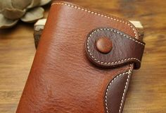 Handmade biker leather wallet with chain coffee red brown short wallet purse for men