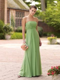 Strapless chiffon A-Line bridesmaid dress, ruched empire waist band accented with knotted detail at side with cascading drape down skirt. Free made-to-measurement service for any size. Available colors seen as in Color Options.