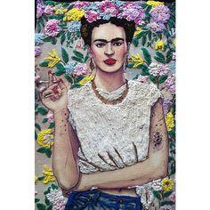 Frida Kahlo T-shirt painting 3d by Quor camiseta pintada de Frida