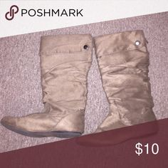 Slouchy tan Boots Slouchy tan flat boots Natural Reflections Shoes Winter & Rain Boots
