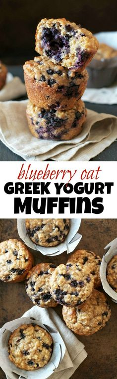 You won't find any butter or oil in these ridiculously soft and tender Blueberry Oat Greek Yogurt Muffins!