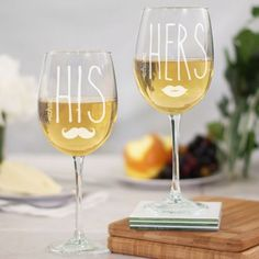 Engraved His and Hers Wine Glasses