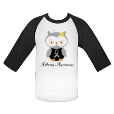 Cute gray Asthma Awareness Owl with ribbon comes on a White and Black Youth Baseball Jersey T-Shirt you can personalize.   $24.99