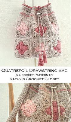 Crochet Bag PATTERN - Quatrefoil Drawstring Bag - Drawstring Bag Pattern - Granny Square Bag - DIY Crochet Purse - Crochet Purse Pattern - My list of best Diy and Crafts Diy Crochet Purse, Crochet Purse Patterns, Crochet Motifs, Crochet Handbags, Crochet Purses, Afghan Patterns, Blanket Crochet, Knitting Patterns, Crochet Beach Bags