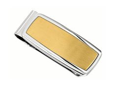 I.B. GOODMAN 10627MON Gent's Stainless Steel Money Clip with Yellow Gold IP, Collection: Derby