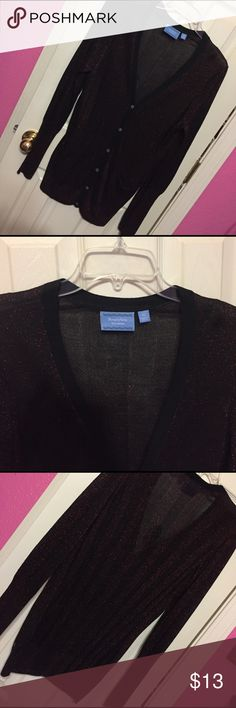 Red/Black sparkly cardigan sweater Red/black sparkly cardigan sweater size xl = women's 10/12 - never worn Vera Wang Sweaters Cardigans